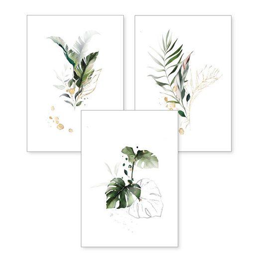 Kreative Feder Poster, Pflanzen (Set, 3 Stück), 3-teiliges Poster-Set, Kunstdruck, Wandbild, optional mit Rahmen, wahlw. in DIN A4 / A3, 3-WP013