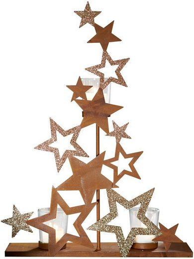 Teelichthalter »Sterne«, in angesagter Rostoptik, Höhe 43,5 cm