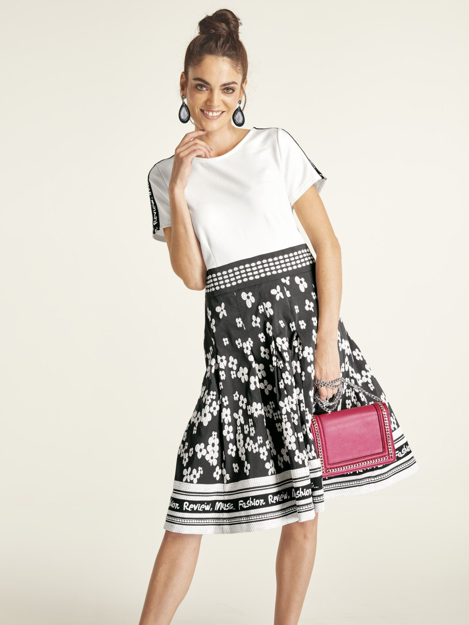 Damen heine STYLE Kleid mit aufwendigem Jacquardrock schwarz | 04260507350633