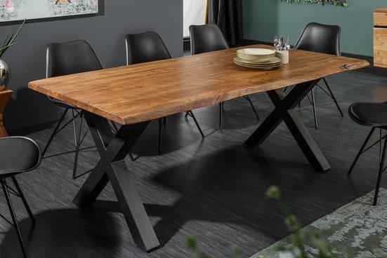 riess-ambiente Esstisch »MAMMUT NATURE 160cm honigfarben«, Massivholz · Baumkante · X-Gestell · 3,5cm Tischplatte · Akazie