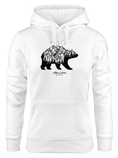 Neverless Hoodie »Hoodie Damen Bär Abenteuer Berge Wald Bear Mountains Adventure Kapuzen-Pullover Neverless®«