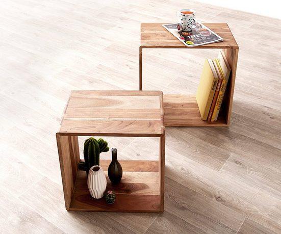 DELIFE Regal »2er-Set-Cube«, Eolo Akazie Natur 50x30 cm Massivholz Beistelltisch Cube