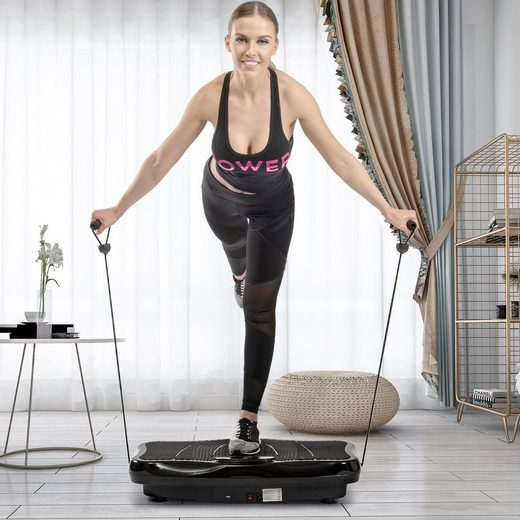 Merax Vibrationsplatte, 200 W, Bluetooth Musik+Trainingsbänder+ Fernbedienung, belastbar bis 150kg