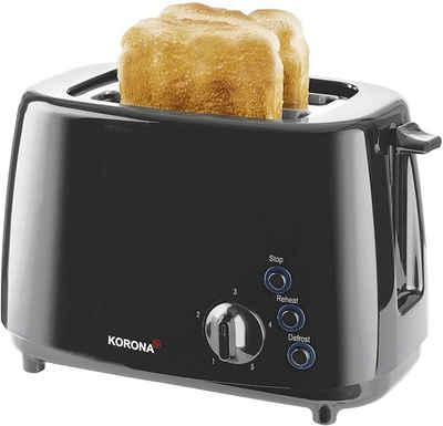 KORONA Toaster 21115, 2 Scheiben, 850W, Brötchenaufsatz, Auftaufunktion, Aufwärmen, schwarz