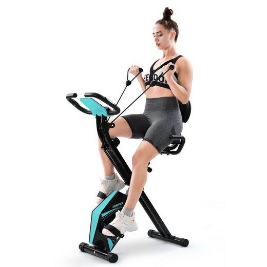 Merax Fahrradtrainer, klappbar Heimtrainer X bike, Fitnessfahrrad mit LCD-Bildschirm, einstellbarer Höhe und Expanderbändern, belastbar bis 110 kg