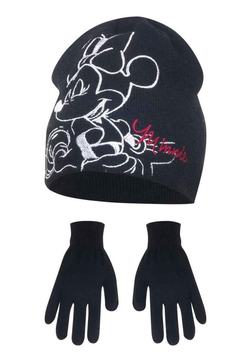 Disney Minnie Mouse Beanie »Kinder Mädchen Winter-Set Mütze Handschuhe Mini Maus« (SET)