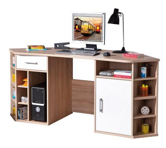 ebuy24 Schreibtisch »Vamor Schreibtisch 1 Tür, 1 Schublade, 13 offene F«