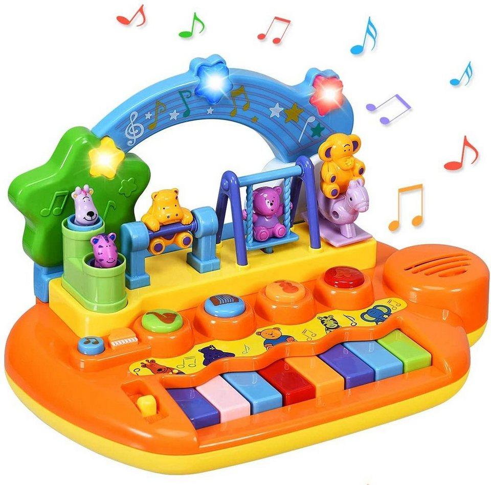 costway lernspielzeug babyspielzeug musikspielzeug mit integriertem musikmodi und tierfamilie spielzeug keyboard baby klaviertastatur fuer kleinkinder ab 10 monaten