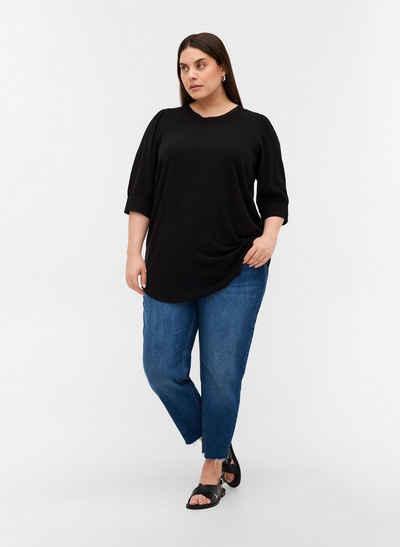 Zizzi Tunika Große Größen Damen Tunika mit 3/4-Ärmeln aus Baumwolle mit Spitze