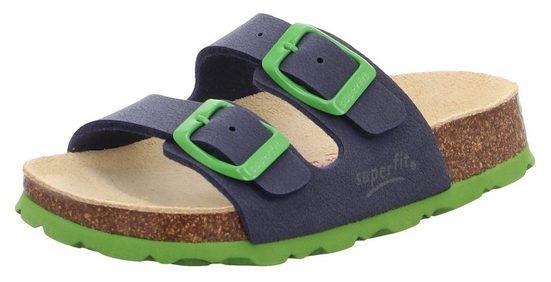 Superfit »Fußbettpantolette« Pantolette mit kontrastfarbenen Schnallen zum verstellen