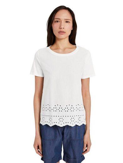 TOM TAILOR T-Shirt mit floralem Stickerei-Saum