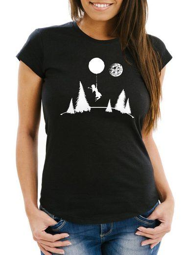 MoonWorks Print-Shirt »Damen T-Shirt To the moon Slim Fit Moonworks®« mit Print