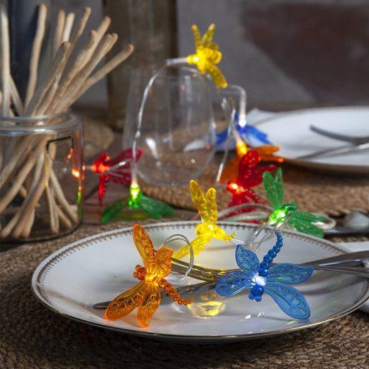 """STAR TRADING LED-Lichterkette »LED Lichterkette """"Libelle"""" - 10 farbige Libellen - warmweiße LED - L: 1,35m - Batterie - Timer«, 10-flammig"""