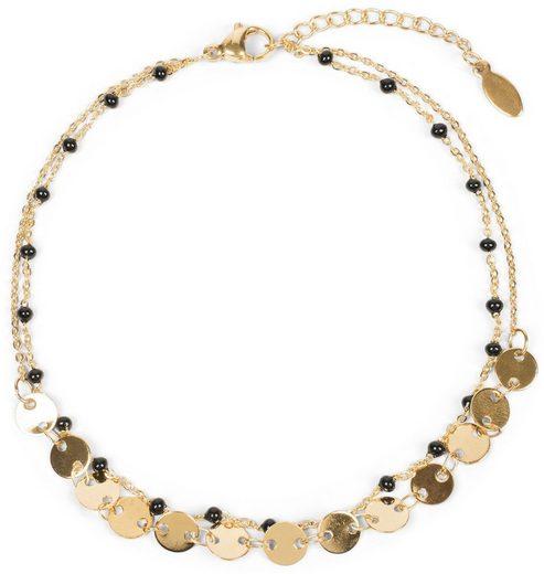 styleBREAKER Fußkette mit Anhänger, Mehrlagiges Fußkettchen mit Plättchen und Perlen