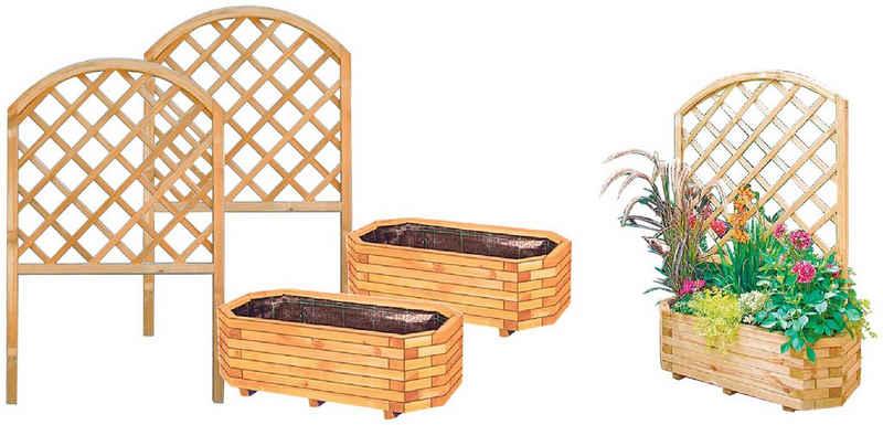 Tetzner & Jentzsch Pflanzkübel »Detroid 1«, 2er Set mit Rankgitter 140 cm, BxTxH: 100x50x35 cm