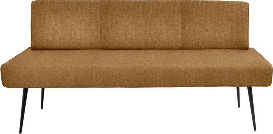 K+W Komfort & Wohnen Polsterbank »Giacomo I« (1-St), Polsterbank mit Metallfüssen in schwarz Struktur lackiert, 4mm umlaufender Keder im Rücken und Sitz, wahlweise in der Breite 200cm oder 177cm
