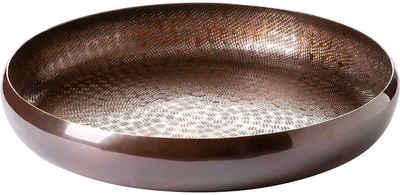 Fink Dekoschale »RAFFIA, bronzefarben« (1 Stück), Dekotablett, aus Metall, rund, handgefertigt, erhältlich in verschiedenen Größen, Wohnzimmer