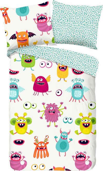 Kinderbettwäsche »Booh«, good morning, mit Monster