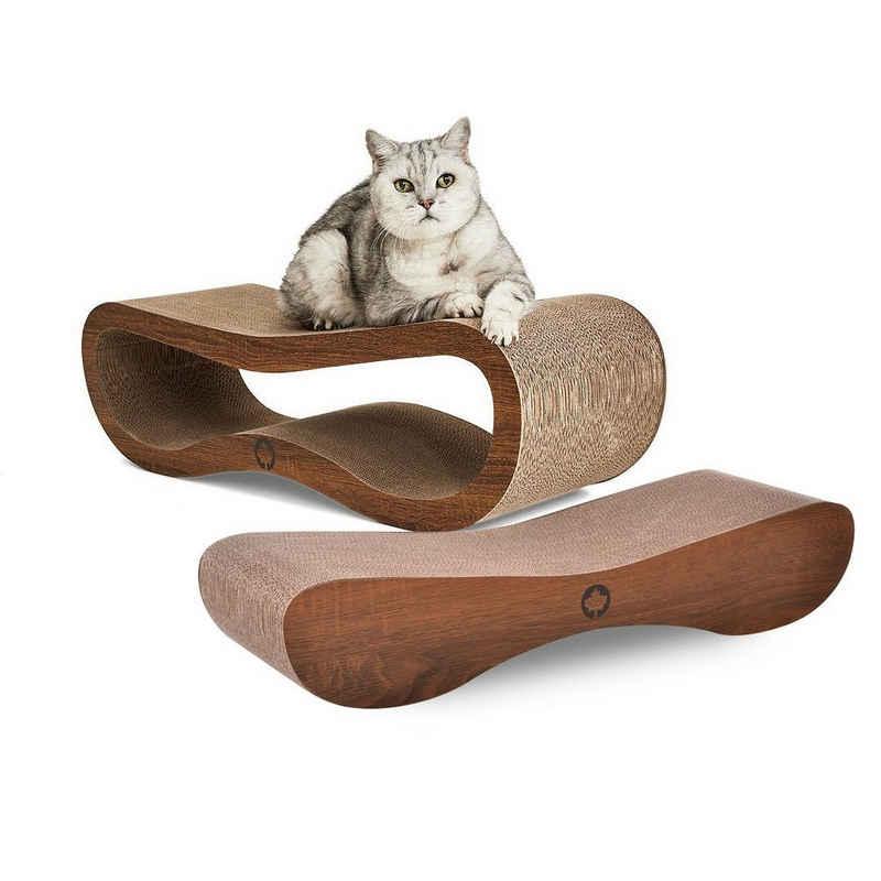 Canadian Cat Company Kratzpappe »Set Orbit & Satellite 2.0 - walnuss«, (Spar Set, Besteht aus je 1 Orbit und 1 Satellite), XL Kratzmöbel in der Trendfarbe Walnussoptik, mit Katzenminze, Qualitäts-Pappe, 2 Kratzbretter