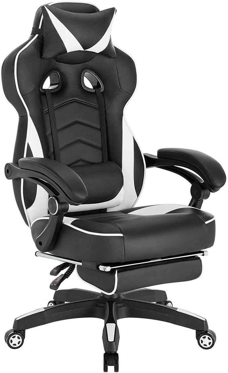 Woltu Gaming-Stuhl »BS71ws-MA« (1 Stück), mit Kopfstütze und Lendenkissen Fußstütze, Kunstleder, höhenverstellbar Weiß