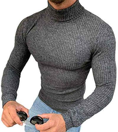 Megaman Jeans Rollkragenpullover »Herren Rollkragenpullover Rolli Hoher Rollkragen Pulli Shirt in Premium Qualität Sweater Warrm« Hoher Kragen