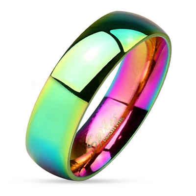 BUNGSA Fingerring »Ring Regenbogen Bunt aus Edelstahl Unisex« (inkl. Schmuckbeutel aus Organza), Damen Herren Verlobung Ehering Valentinstag