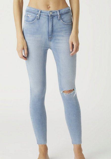 Hosen - Calvin Klein Jeans Skinny fit Jeans »HIGH RISE SUPER SKINNY ANKLE« mit leicht ausgefranstem Beinsaum ›  - Onlineshop OTTO