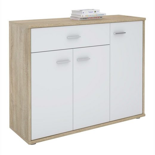 CARO-Möbel Kommode »ESTELLE«, Kommode Sideboard Mehrzweckschrank, 3 Türen und 1 Schublade, 88 cm breit