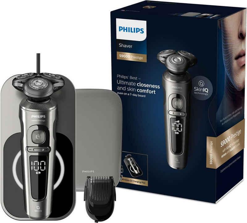 Philips Elektrorasierer Series 9000 Prestige SP9860/16, Aufsätze: 2, mit Nano-Tech Präzisionsklingen, Bartstyler, Qi-Ladepad
