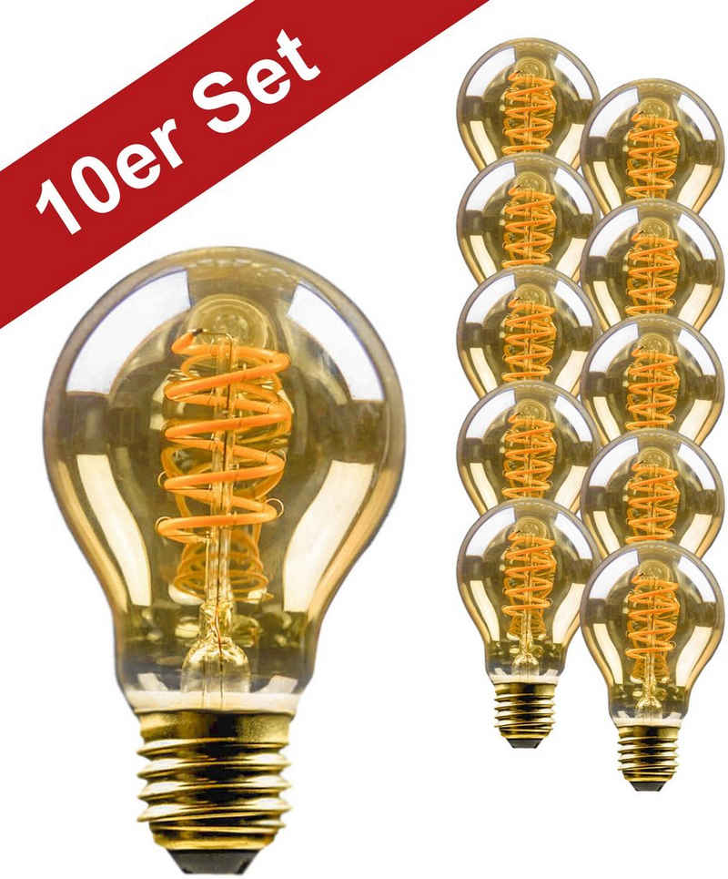BLULAXA »Vintage« LED-Filament, E14, 10 Stück, Extra-Warmweiß, 10er-Set, Retro-Optik, superwarmweis