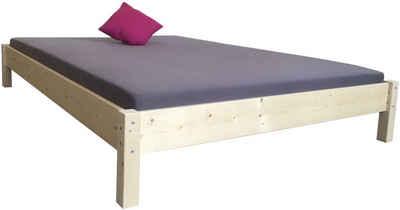 LIEGEWERK Bett »Futonbett Massivholzbett Bett Holz hergestellt in BRD 90 100 120 140 160 180 200 x 200cm«, 200x200cm