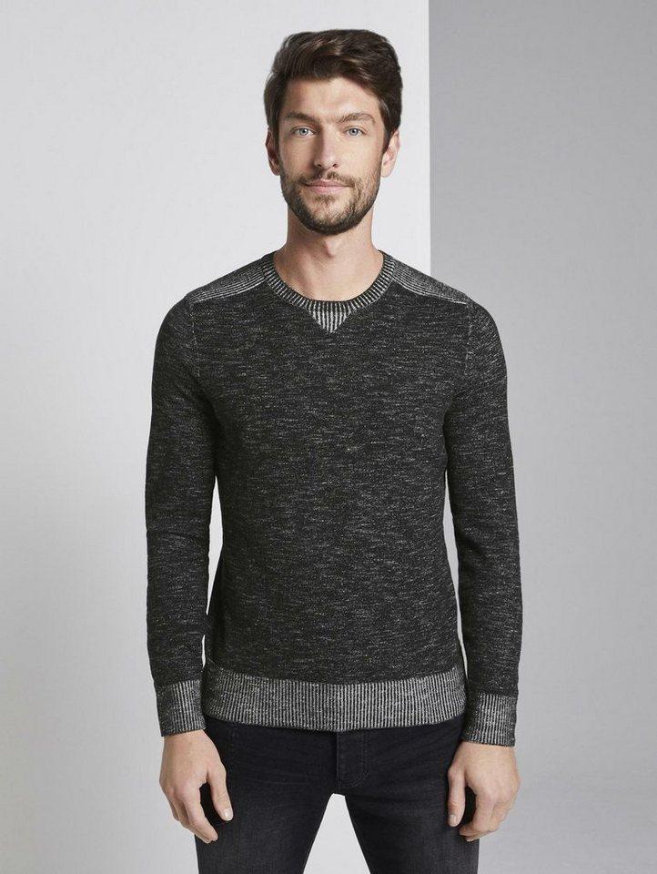 tom tailor -  Rundhalspullover »Strickpullover in Melange-Optik«