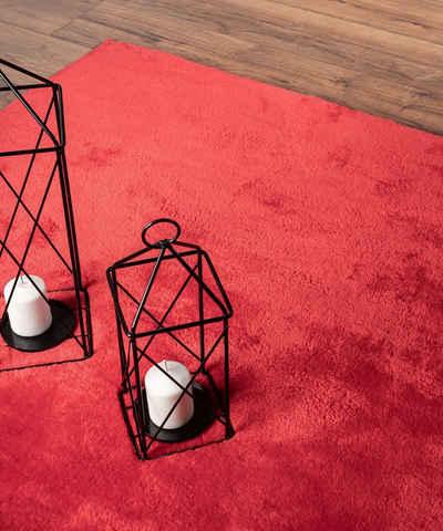 Teppich »Relax Moderner Flauschiger Kurzflor Teppich, Anti-Rutsch Unterseite, Waschbar bis 30 Grad, Super Soft, Felloptik, Rot, 200 cm Rund«, the carpet, Rund