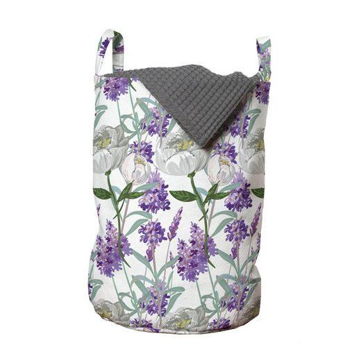 Abakuhaus Wäschesack »Wäschekorb mit Griffen Kordelzugverschluss für Waschsalons«, Floral Lavendel und Pfingstrose