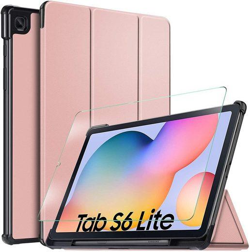 IVSO Tablet-Hülle »Hülle für Samsung Galaxy Tab S6 lite 10.4 Zoll 2020 + panzerglas,« für Samsung Galaxy Tab S6 lite 10.4 Zoll 2020 Modell 10.4 inch, Ultra Schlank Slim Schutzhülle Hochwertiges PU mit Standfunktion Perfekt Geeignet