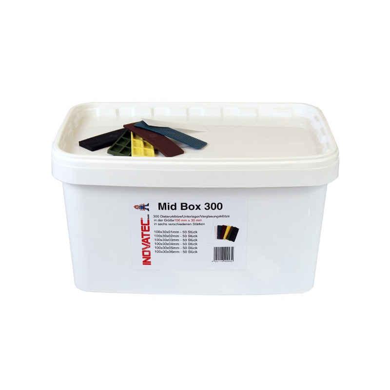 Inovatec Unterlegplatte »300 x Inovatec Kunststoff Verglasungsklötze Glasklötze 100 x 30 x 1 - 6 mm Trageklötze in praktischer Box«