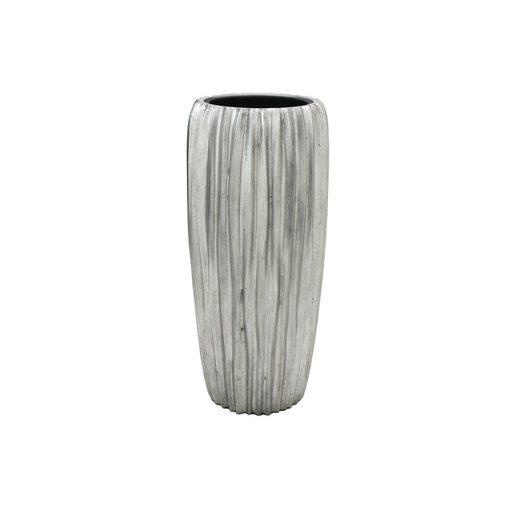 Flingora Bodenvase »Minga«, mit Einsatz - Fiberglas Pflanzvase - Indoor - Wellenstruktur Silber - Höhe 75 cm / Ø 34 cm