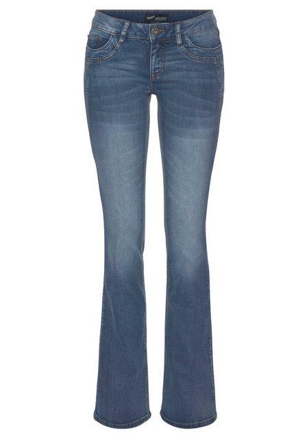 Hosen - Arizona Bootcut Jeans »mit Keileinsätzen« Low Waist › blau  - Onlineshop OTTO
