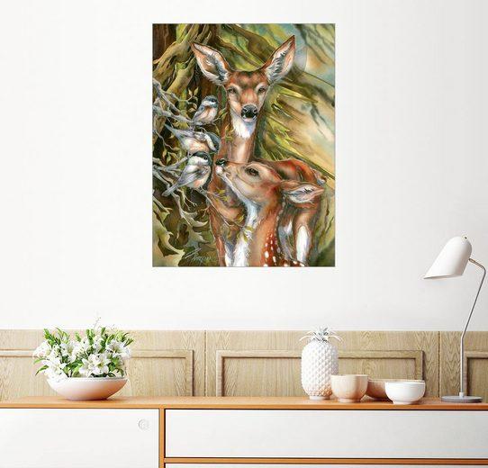 Posterlounge Wandbild, Rehe und Vögel