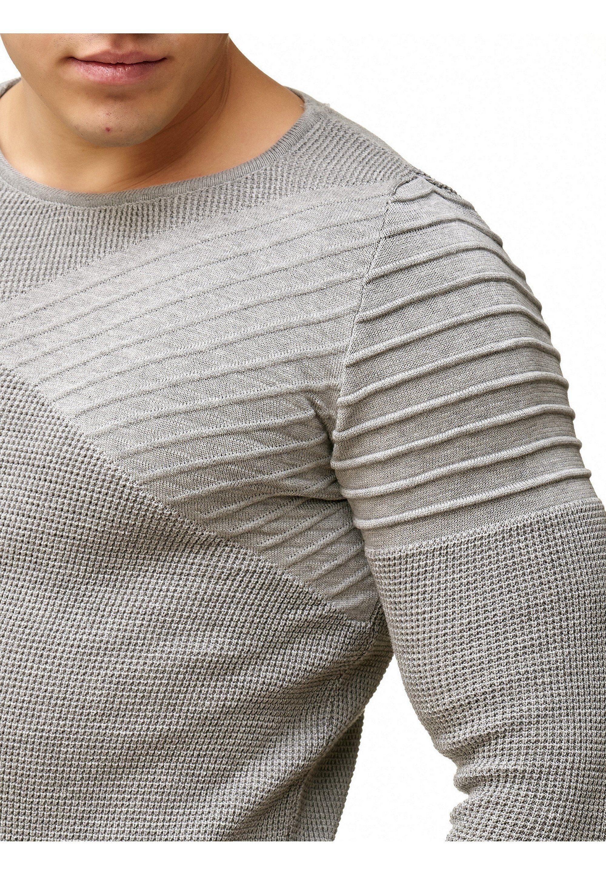RedBridge Rundhalspullover Amarillo mit raffiniertem Schulterdetail