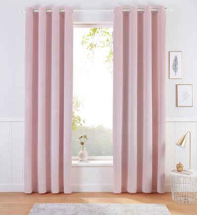 Kinderzimmer W/ärmeisolierend Gardine Licht Blockieren /Ösenschal 140x160cm PANDADW Vorh/änge Blickdicht 2Er Set Pinke Rose Wohnzimmer Schlafzimmer Gardinen Blickdicht