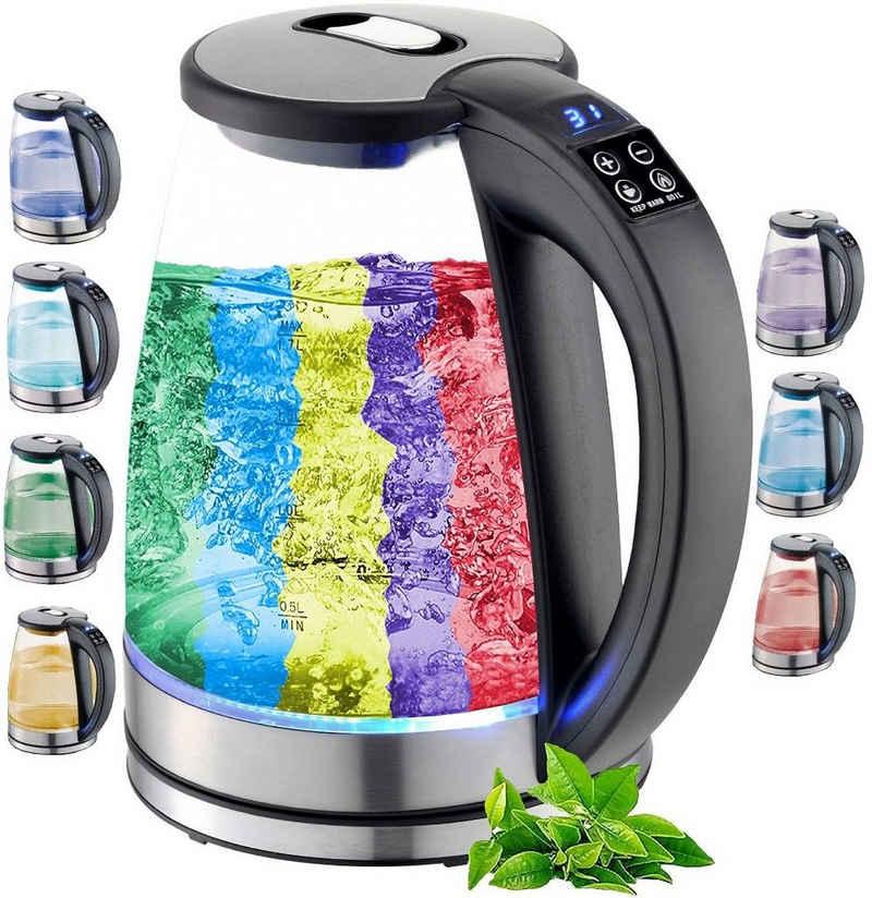 ecosa Wasserkocher EO-610, 1,8 l, 2200 W, Glaswasserkocher, mit Temperatureinstellung, LED-Beleuchtung, Edelstahl, BPA-frei, Farbwechsel