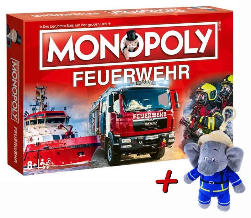Winning Moves Spiel, Brettspiel »Monopoly Feuerwehr 2021 + Plüschfigur Benjamin Blümchen Feuerwehrmann mit Sound (15cm)«
