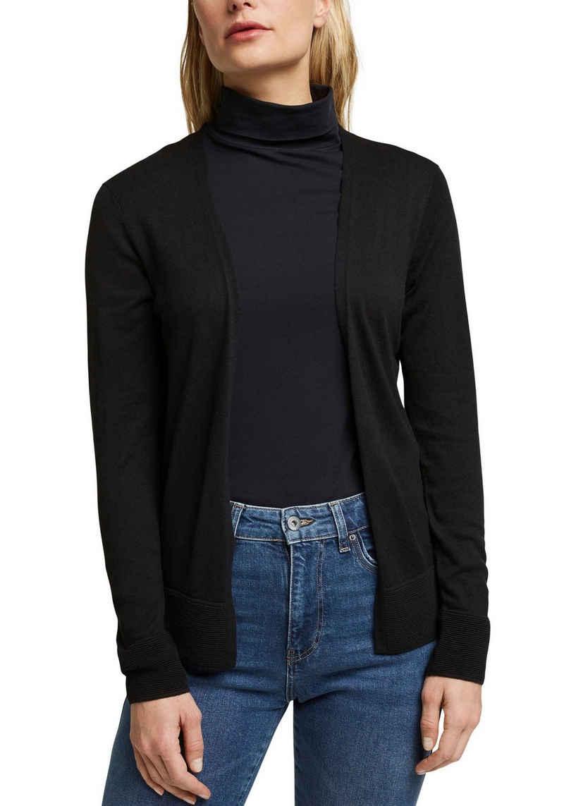 Esprit Cardigan mit dezentem Streifendesign im Rücken