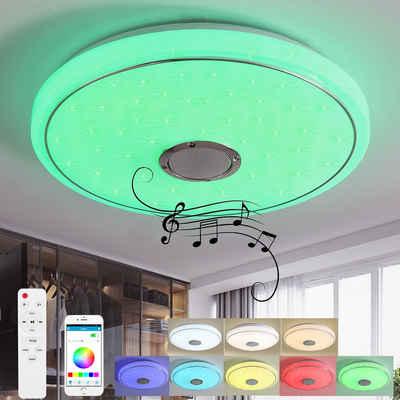 Natsen Deckenleuchte, LED 24W Bluetooth Deckenlampe mit Bluetooth Lautsprecher, RGB-Funktion Farbwechsel, Fernbedienung und APP Steuerung