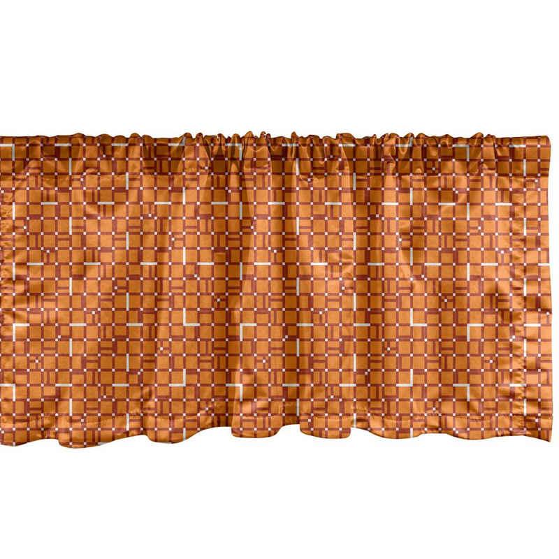 Scheibengardine »Vorhang Volant für Küche Schlafzimmer Dekor mit Stangentasche«, Abakuhaus, Geometrisch Digitale orange Quadrate