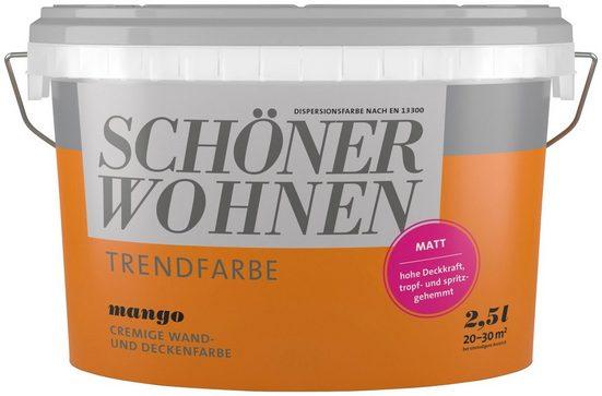 SCHÖNER WOHNEN FARBE Wand- und Deckenfarbe »Trendfarbe Mango, matt«, 2,5 l