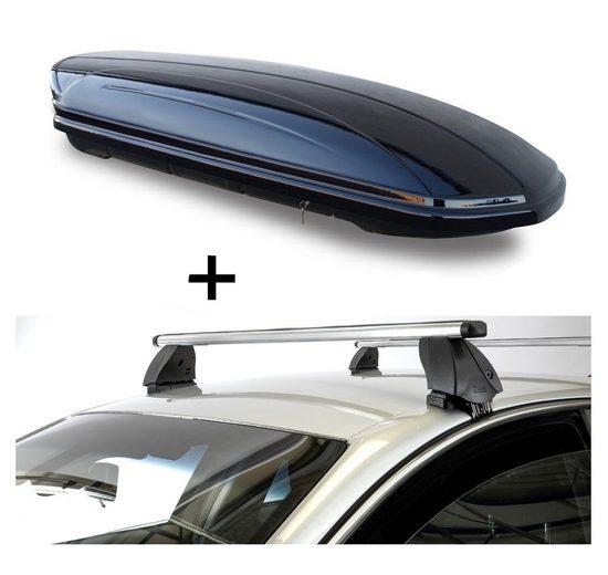 VDP Fahrradträger, Dachbox VDPMAA460 460 Liter schwarz glänzend abschließbar + Dachträger K1 PRO Aluminium kompatibel mit Volkswagen Golf VII (5G) (5Türer) ab 12