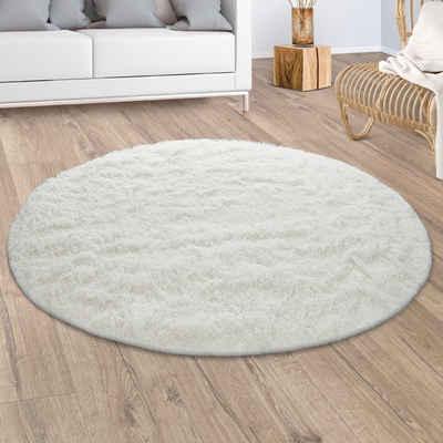 Hochflor-Teppich »Silky 591«, Paco Home, rund, Höhe 33 mm, Shaggy, besonders weich und kuschelig, Uni Farben, Wohnzimmer