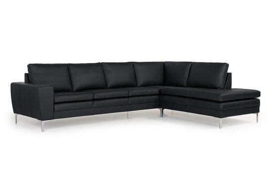 ebuy24 Sofa »Stenbjerg Ecksofa rechtswendig echtes Leder schwar«